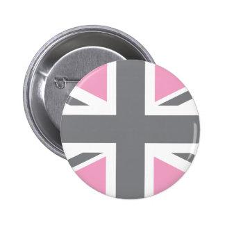 Drapeau gris rose d'Union Jack les Anglais (R-U) Badge Rond 5 Cm