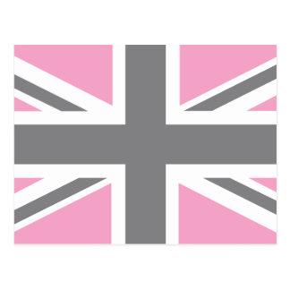 Drapeau gris rose d'Union Jack les Anglais (R-U) Carte Postale