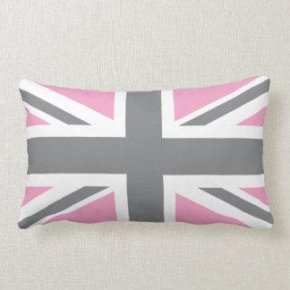 Drapeau gris rose d'Union Jack les Anglais (R-U) Coussin