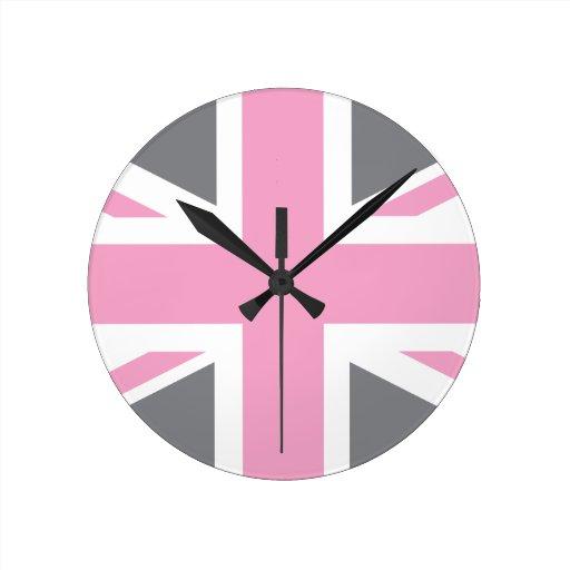 Drapeau gris rose d 39 union jack les anglais r u pendules zazzle - Drapeau anglais gris ...