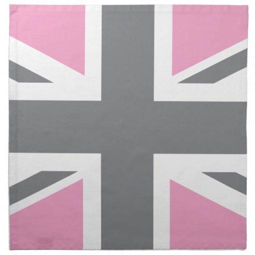 drapeau gris rose d 39 union jack les anglais r u serviette en tissu zazzle. Black Bedroom Furniture Sets. Home Design Ideas