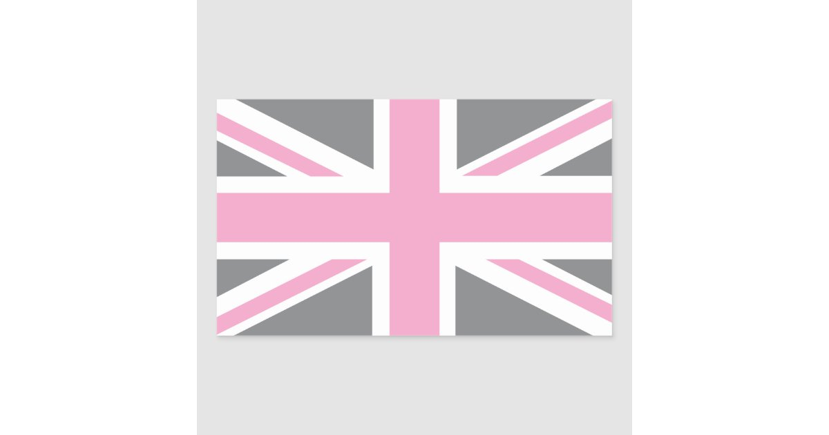 drapeau gris rose d 39 union jack les anglais r u sticker rectangulaire zazzle. Black Bedroom Furniture Sets. Home Design Ideas