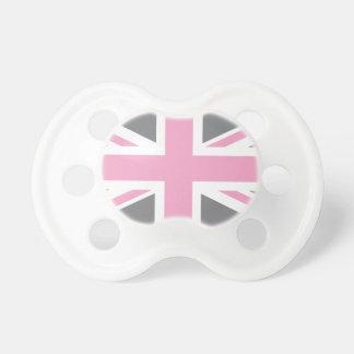 Drapeau gris rose d'Union Jack les Anglais (R-U) Sucette Pour Bébé