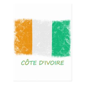 Drapeau grunge de la Côte d'Ivoire Carte Postale