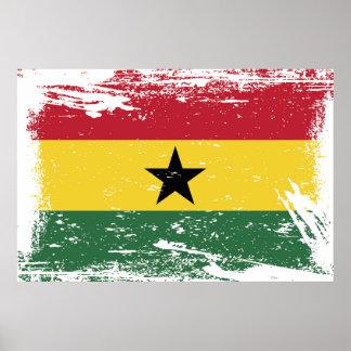 Drapeau grunge du Ghana Poster