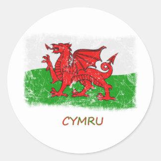 Drapeau grunge du Pays de Galles Adhésifs Ronds