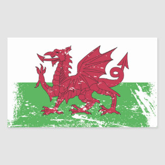 Drapeau grunge du Pays de Galles Sticker Rectangulaire
