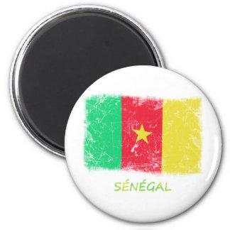 Drapeau grunge du Sénégal Magnet Rond 8 Cm