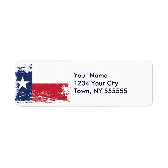 Drapeau grunge du Texas Étiquette D'adresse Retour