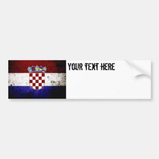 Drapeau grunge noir de la Croatie Autocollant Pour Voiture
