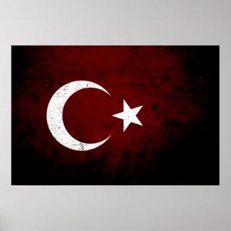 Drapeau grunge noir de la Turquie Poster