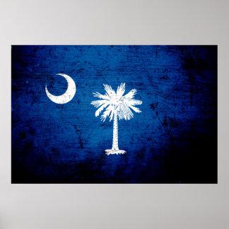Drapeau grunge noir d'état de la Caroline du Sud Poster
