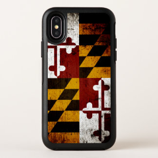 Drapeau grunge noir d'état du Maryland