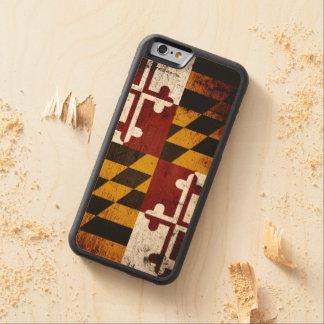 Drapeau grunge noir d'état du Maryland Coque iPhone 6 Bumper En Érable