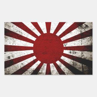 Drapeau grunge noir du Japon Soleil Levant Sticker Rectangulaire