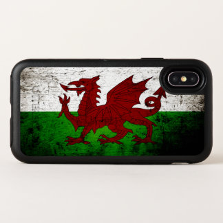 Drapeau grunge noir du Pays de Galles