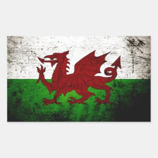 Drapeau grunge noir du Pays de Galles Sticker Rectangulaire