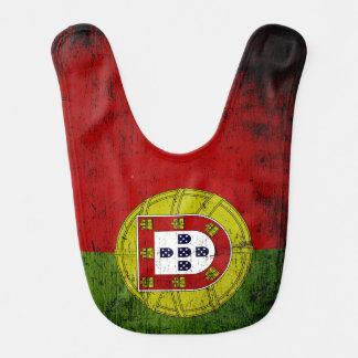 Drapeau grunge noir du Portugal Bavoir