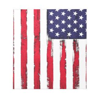 Drapeau grunge patriotique américain bloc-note