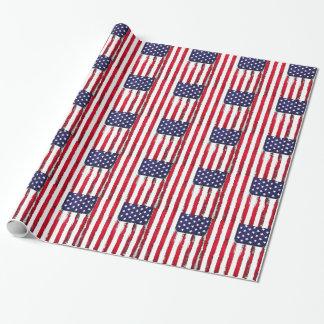 Drapeau grunge patriotique américain papier cadeau