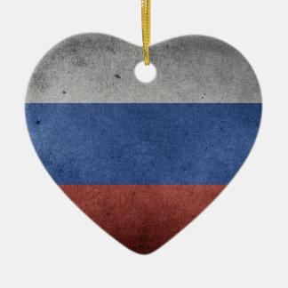 Drapeau grunge vintage de la Russie Ornement Cœur En Céramique
