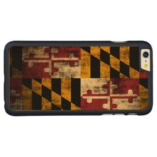 Drapeau grunge vintage du Maryland Coque Carved® En Érable Pour iPhone 6 Plus Case
