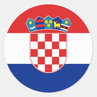 Drapeau heure Hrvatska de la Croatie Adhésif Rond