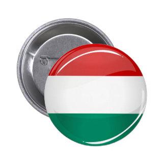 Drapeau hongrois rond brillant badge rond 5 cm