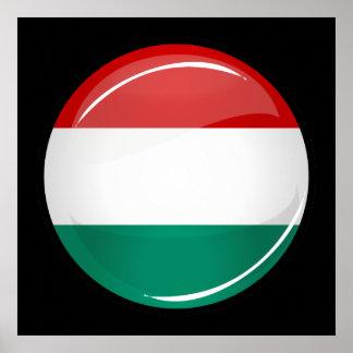 Drapeau hongrois rond brillant poster