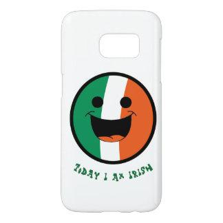 Drapeau irlandais de St Patrick, visage de smiley Coque Samsung Galaxy S7