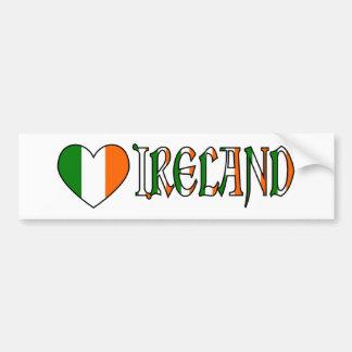Drapeau irlandais et mot Irlande de coeur Autocollant Pour Voiture
