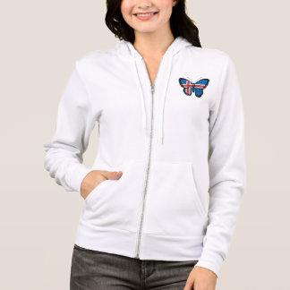 Drapeau islandais de papillon veste à capuche