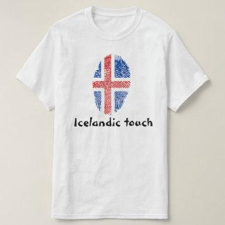 Drapeau islandais d'empreinte digitale de contact t-shirt