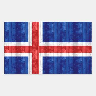 Drapeau islandais en bois sticker rectangulaire