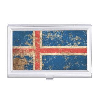 Drapeau islandais vintage âgé rugueux étuis pour cartes de visite