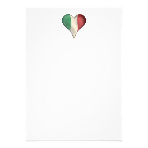 Drapeau italien à un coeur invitation
