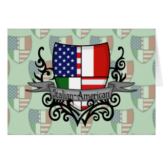 Drapeau Italien-Américain de bouclier Carte