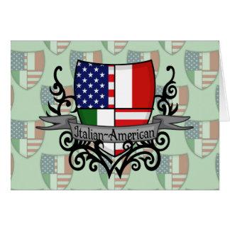 Drapeau Italien-Américain de bouclier Carte De Vœux