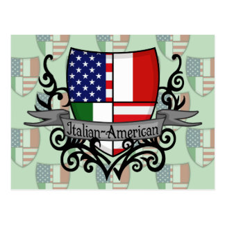 Drapeau Italien-Américain de bouclier Carte Postale
