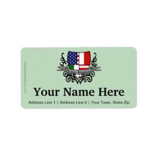 Drapeau Italien-Américain de bouclier Étiquette D'adresse