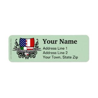Drapeau Italien-Américain de bouclier Étiquettes D'adresse Retour