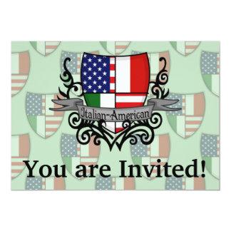 Drapeau Italien-Américain de bouclier Carton D'invitation 12,7 Cm X 17,78 Cm