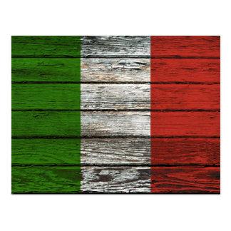 Drapeau italien avec l'effet en bois approximatif  cartes postales