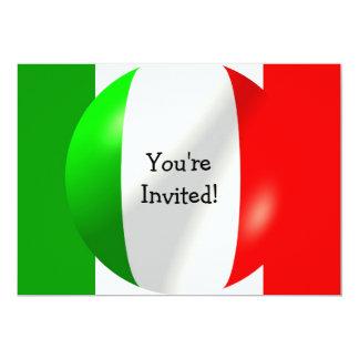 Drapeau italien avec l'invitation de bulle carton d'invitation  12,7 cm x 17,78 cm
