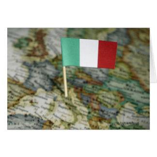 Drapeau italien dans la carte