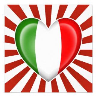 Drapeau italien de coeur avec l éclat d étoile cartons d'invitation