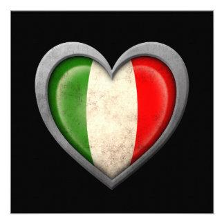 Drapeau italien de coeur avec l effet en métal invitations personnalisées