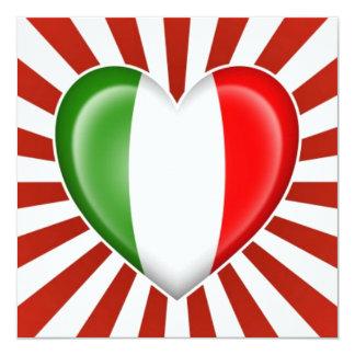 Drapeau italien de coeur avec l'éclat d'étoile cartons d'invitation