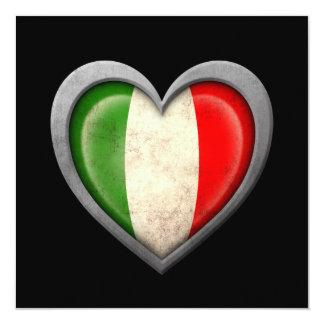Drapeau italien de coeur avec l'effet en métal invitations personnalisées