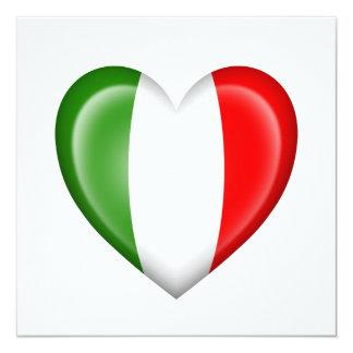 Drapeau italien de coeur sur le blanc invitations personnalisées